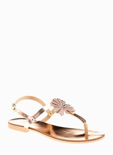 Divarese Divarese 5021410   Çiçek Detaylı Kadın Sandalet Altın